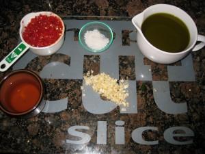 All of the ingredients for piri-piri