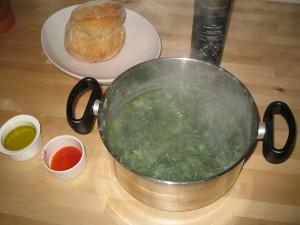 Steaming caldo verde