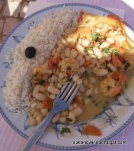 Portuguese food - prawn feijoada